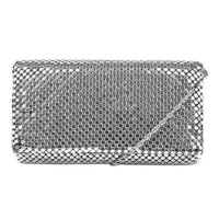 Jessica McClintock Metal Mesh Roll Bag - Silver